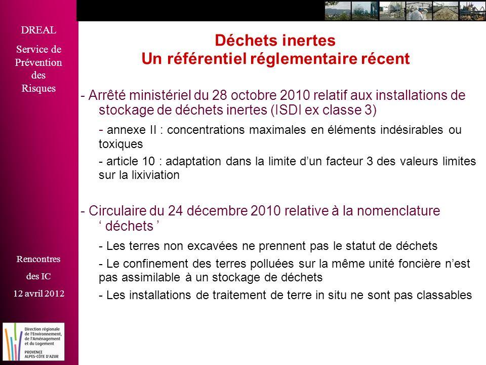DREAL Service de Prévention des Risques Rencontres des IC 12 avril 2012 Déchets inertes Un référentiel réglementaire récent - Arrêté ministériel du 28