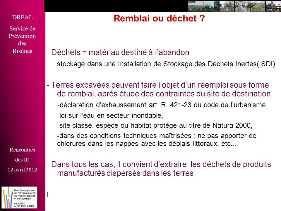 DREAL Service de Prévention des Risques Rencontres des IC 12 avril 2012 Remblai ou déchet ? -Déchets = matériau destiné à labandon stockage dans une I