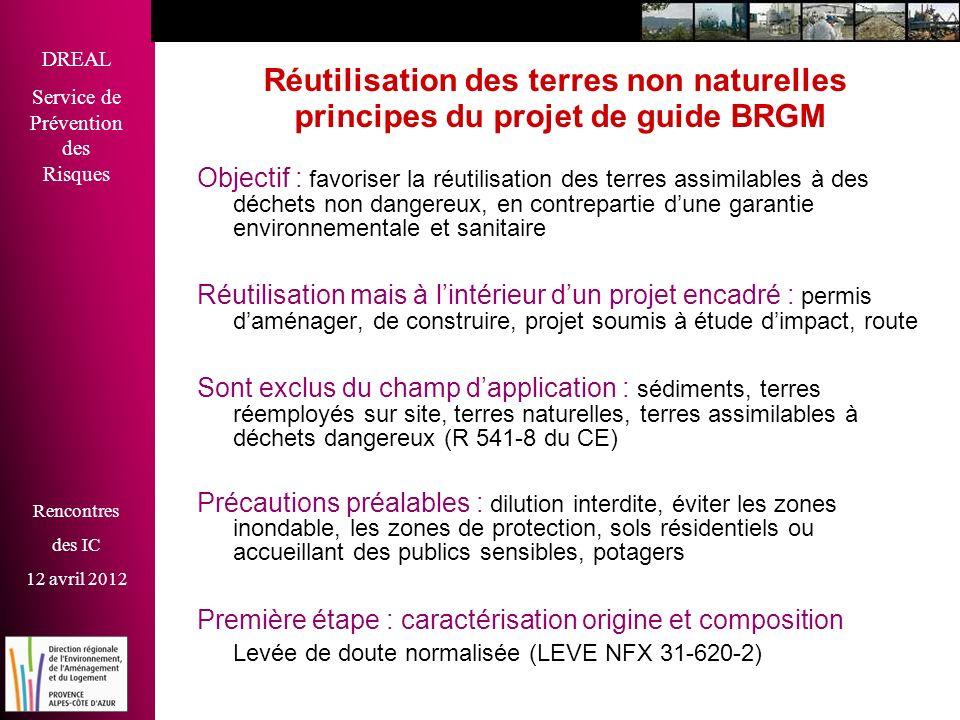 DREAL Service de Prévention des Risques Rencontres des IC 12 avril 2012 Réutilisation des terres non naturelles principes du projet de guide BRGM Obje