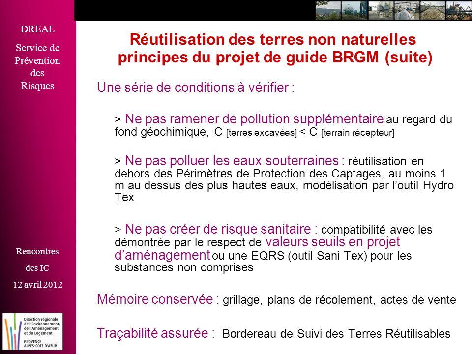 DREAL Service de Prévention des Risques Rencontres des IC 12 avril 2012 Réutilisation des terres non naturelles principes du projet de guide BRGM (sui