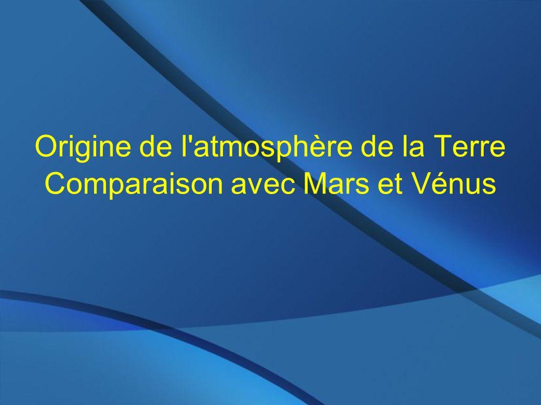 Bilan: masse/volume d une planète planète légère : ex Mars A perdu une partie importante de son atmosphère initiale (explique ses rapports isotopiques 40Ar/36Ar, 129Xe/130Xe, D/H) Perd préférentiellement les éléments légers (H,D,He) Planète intermédiare: Terre (5.9e24 kg) Perd son atmosphère lentement.