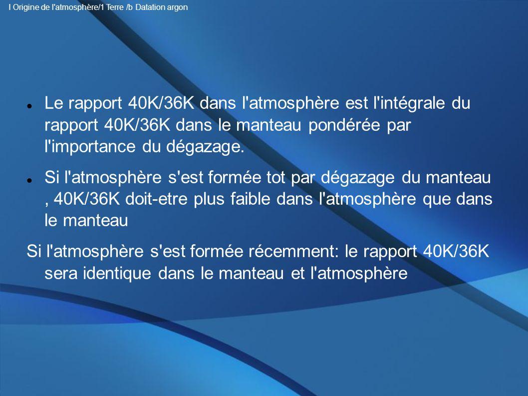 Le rapport 40K/36K dans l'atmosphère est l'intégrale du rapport 40K/36K dans le manteau pondérée par l'importance du dégazage. Si l'atmosphère s'est f