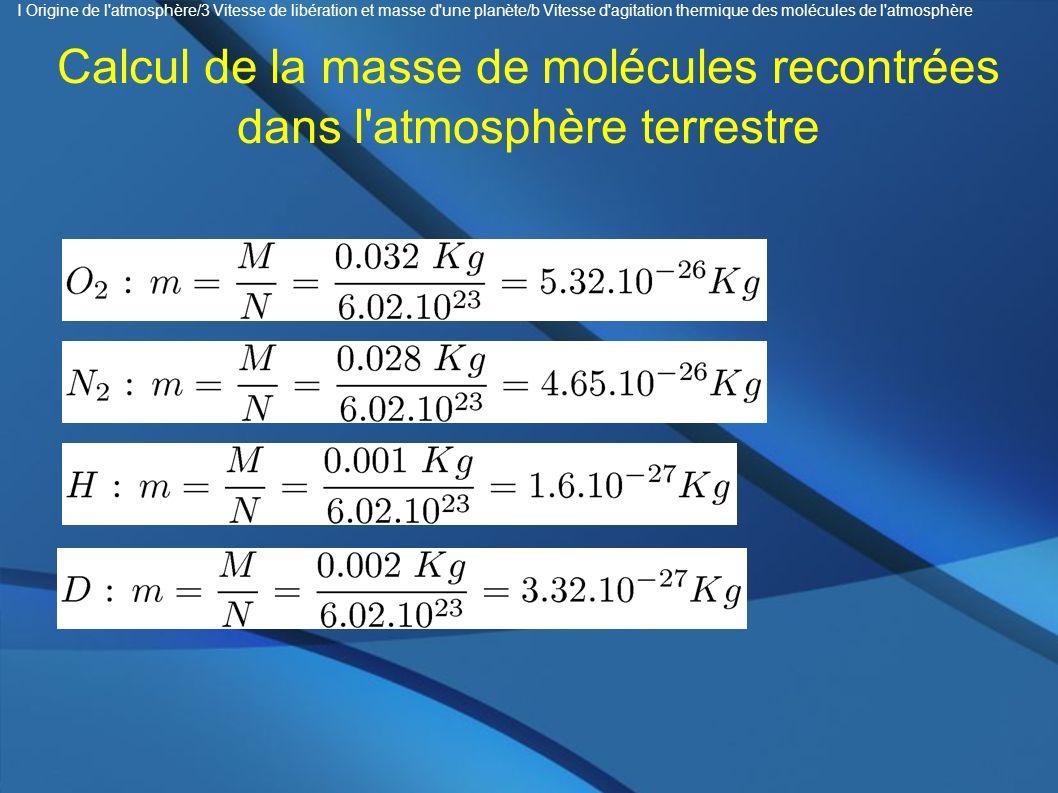 Calcul de la masse de molécules recontrées dans l'atmosphère terrestre I Origine de l'atmosphère/3 Vitesse de libération et masse d'une planète/b Vite