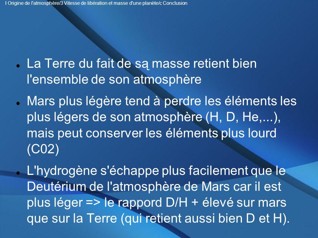 La Terre du fait de są masse retient bien l'ensemble de son atmosphère Mars plus légère tend à perdre les éléments les plus légers de son atmosphère (