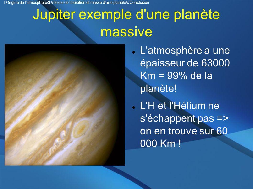 Jupiter exemple d'une planète massive L'atmosphère a une épaisseur de 63000 Km = 99% de la planète! L'H et l'Hélium ne s'échappent pas => on en trouve