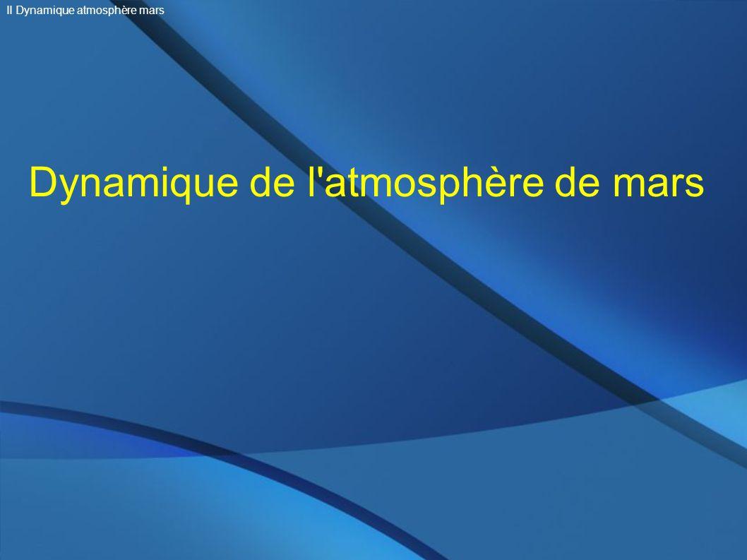 Dynamique de l'atmosphère de mars II Dynamique atmosphère mars