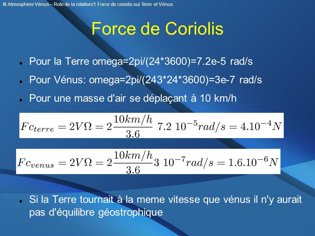 Force de Coriolis Pour la Terre omega=2pi/(24*3600)=7.2e-5 rad/s Pour Vénus: omega=2pi/(243*24*3600)=3e-7 rad/s Pour une masse d'air se déplaçant à 10