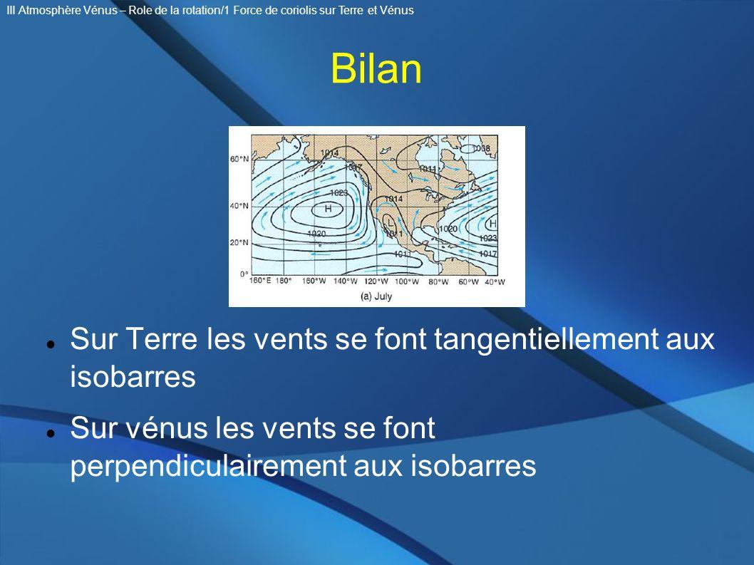 Bilan Sur Terre les vents se font tangentiellement aux isobarres Sur vénus les vents se font perpendiculairement aux isobarres III Atmosphère Vénus –