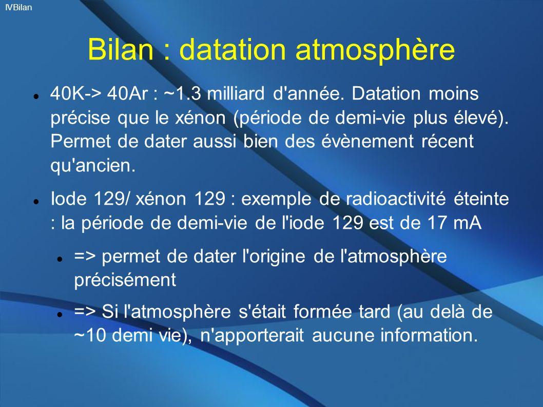 Bilan : datation atmosphère 40K-> 40Ar : ~1.3 milliard d'année. Datation moins précise que le xénon (période de demi-vie plus élevé). Permet de dater