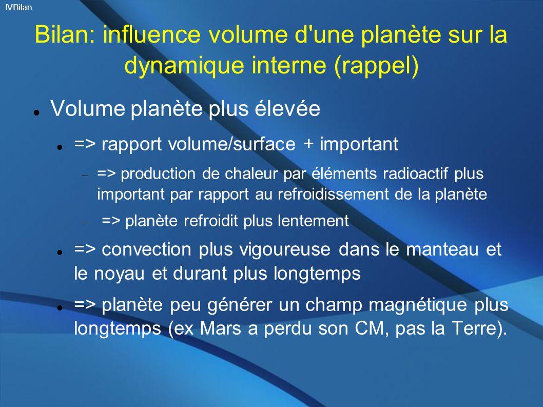 Bilan: influence volume d'une planète sur la dynamique interne (rappel) Volume planète plus élevée => rapport volume/surface + important => production