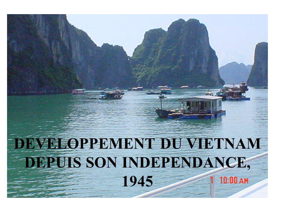 Les principales périodes du développement du Vietnam Lindépendance du Vietnam: 2 sep 1945 1946-1954: Colonie française 1954-1960: Transition économique au Nord- Vietnam et la guerre américaine au Sud 1960-1980: Collectivisation de lagriculture, Etatisation de lindustrie et du commerce 1981- 2003: Réformes institutionnelles
