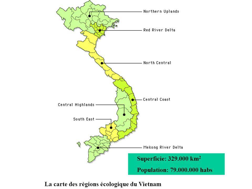 La carte des régions écologique du Vietnam Superficie: 329.000 km 2 Population: 79.000.000 habs
