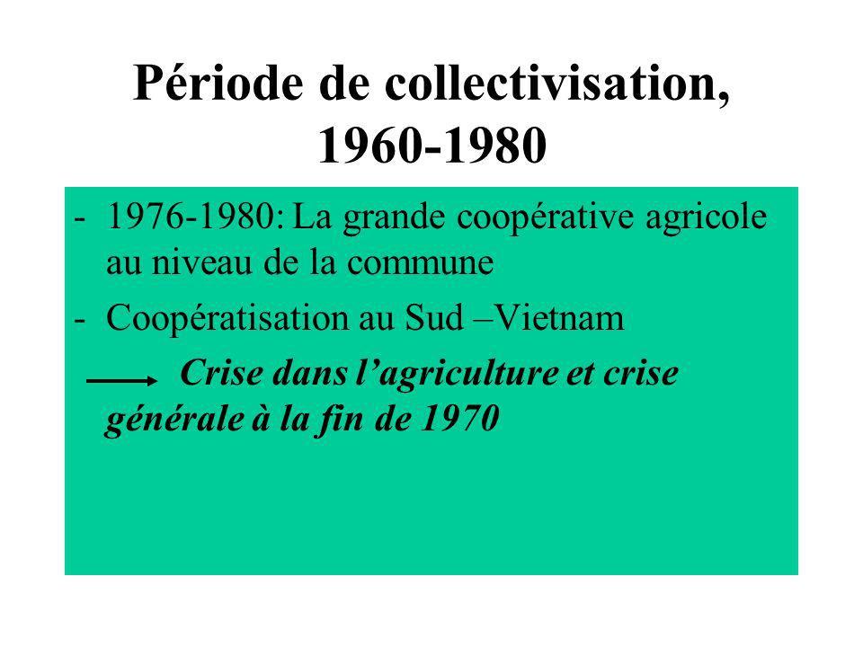 Période de collectivisation, 1960-1980 -la croissance agricole annuelle (76-80): 1,9% -Les prod.vivriers/hab: (241 kg en 1976, 219 kg en 1980) (déficit en vivres du pays: 25- 28%) -La croissance économique faible: 0,4% -La croissance industrielle faible: 0,6%