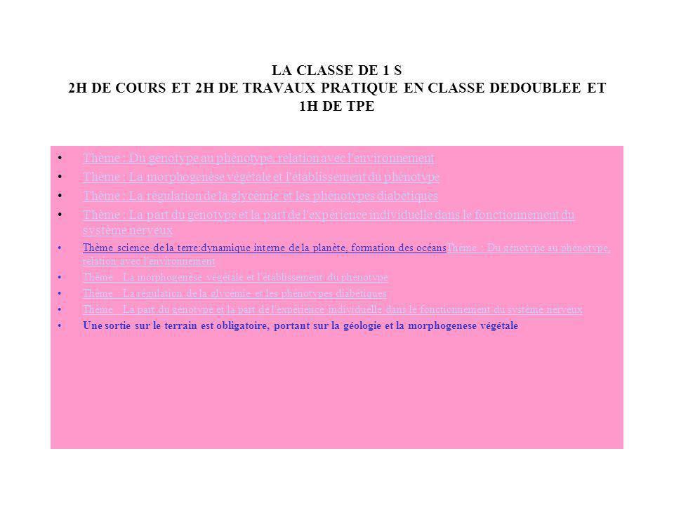 LA CLASSE DE 1 S 2H DE COURS ET 2H DE TRAVAUX PRATIQUE EN CLASSE DEDOUBLEE ET 1H DE TPE Thème : Du génotype au phénotype, relation avec l'environnemen