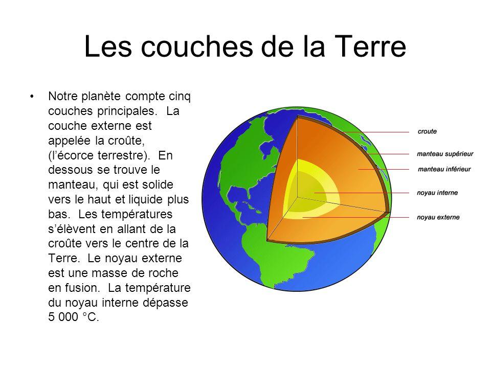 Les couches de la Terre Notre planète compte cinq couches principales. La couche externe est appelée la croûte, (lécorce terrestre). En dessous se tro