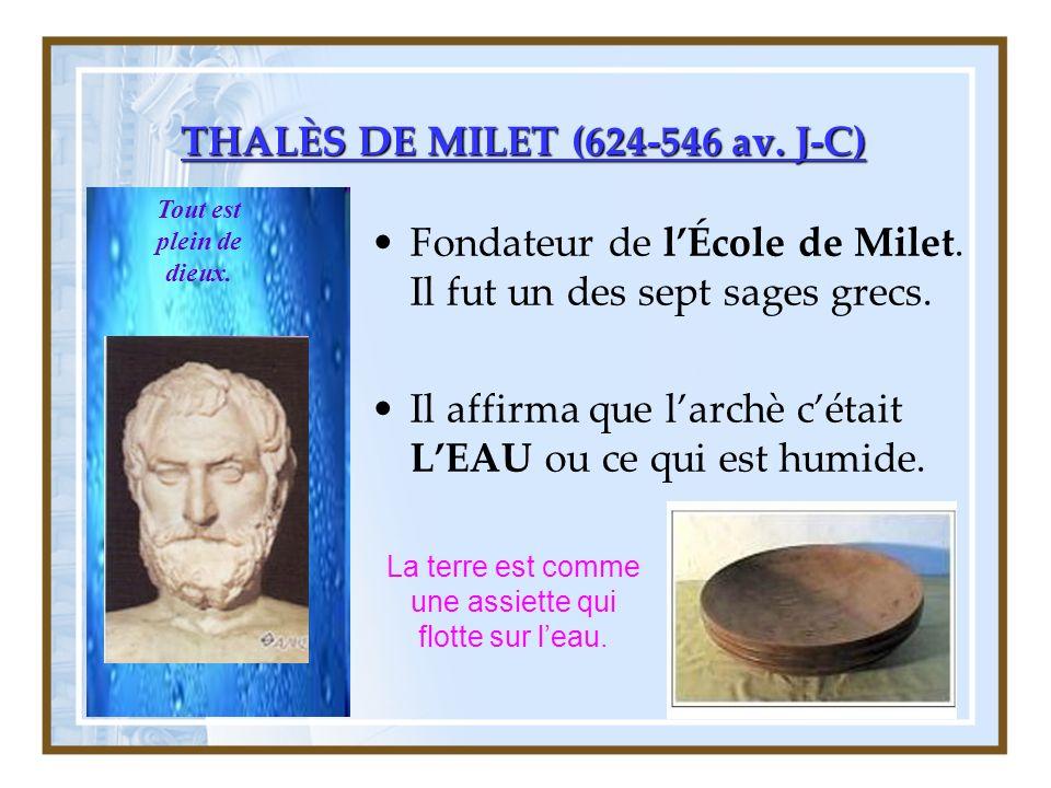 THALÈS DE MILET (624-546 av.J-C) Fondateur de lÉcole de Milet.