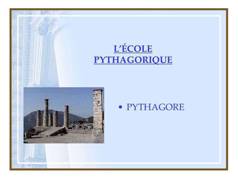 LÉCOLE PYTHAGORIQUE PYTHAGORE