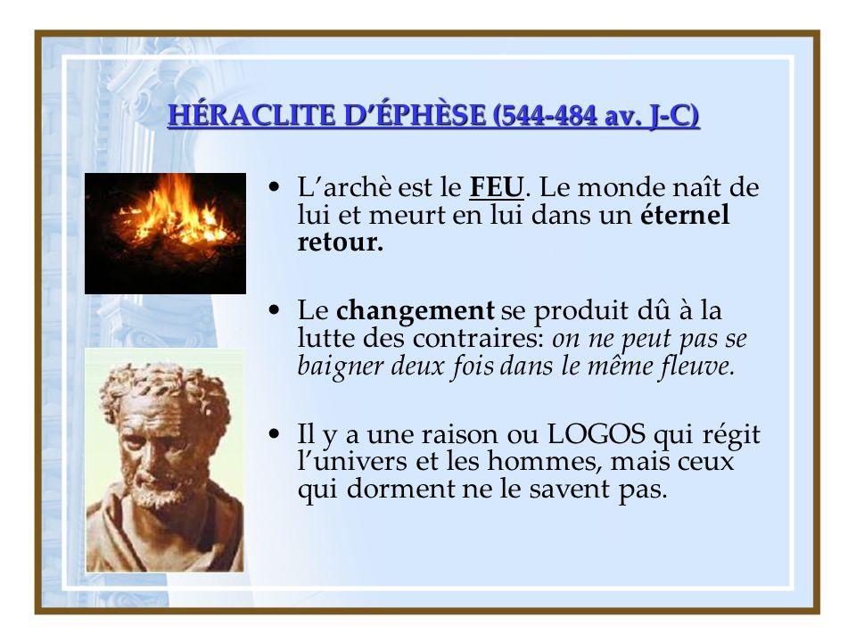 HÉRACLITE DÉPHÈSE (544-484 av.J-C) Larchè est le FEU.