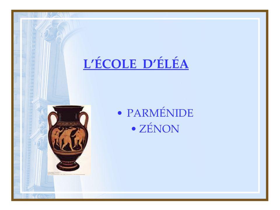 LÉCOLE DÉLÉA PARMÉNIDE ZÉNON