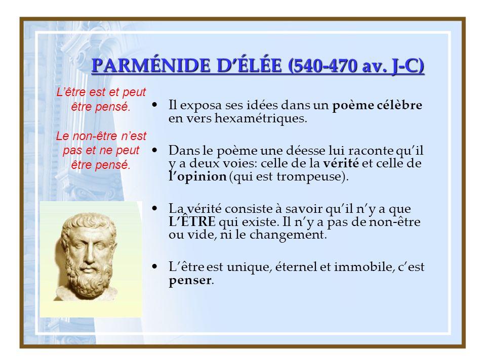 PARMÉNIDE DÉLÉE (540-470 av.J-C) Il exposa ses idées dans un poème célèbre en vers hexamétriques.