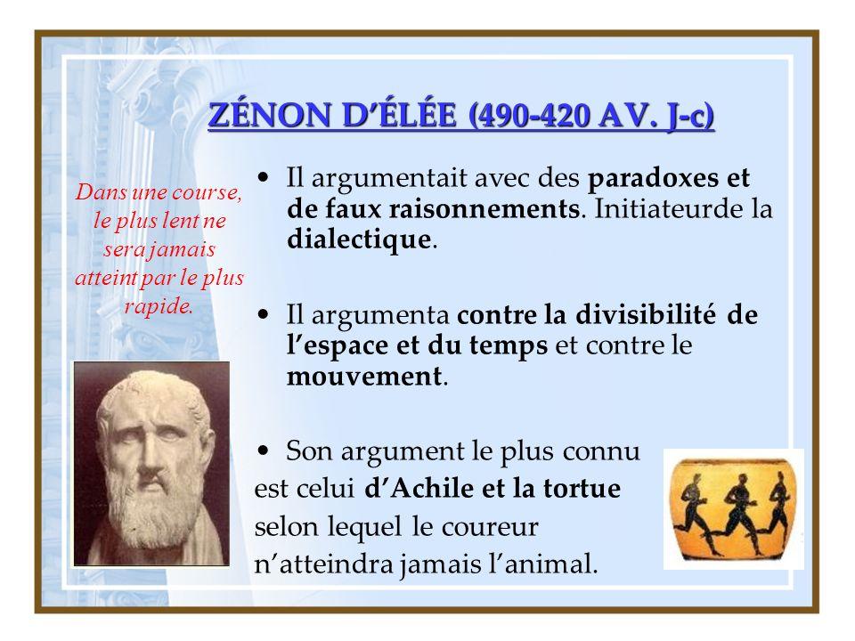ZÉNON DÉLÉE (490-420 AV.J-c) Il argumentait avec des paradoxes et de faux raisonnements.