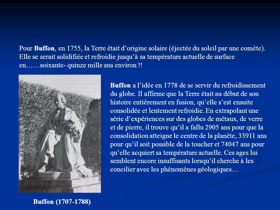 1800 18501900 19502000 10 4 10 6 10 8 10 Age de la Terre (a) Dates Patterson Holmes Boltwood Joly Kelvin Buffon Milliard Million Millier Les âges de la Terre au cours des d é velopements des sciences g é ologiques.