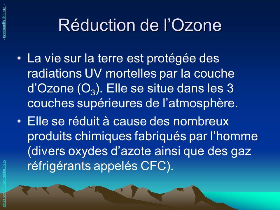 Réduction de lOzone La vie sur la terre est protégée des radiations UV mortelles par la couche dOzone (O 3 ). Elle se situe dans les 3 couches supérie