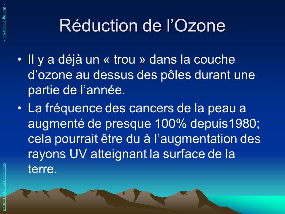 Réduction de lOzone Il y a déjà un « trou » dans la couche dozone au dessus des pôles durant une partie de lannée. La fréquence des cancers de la peau