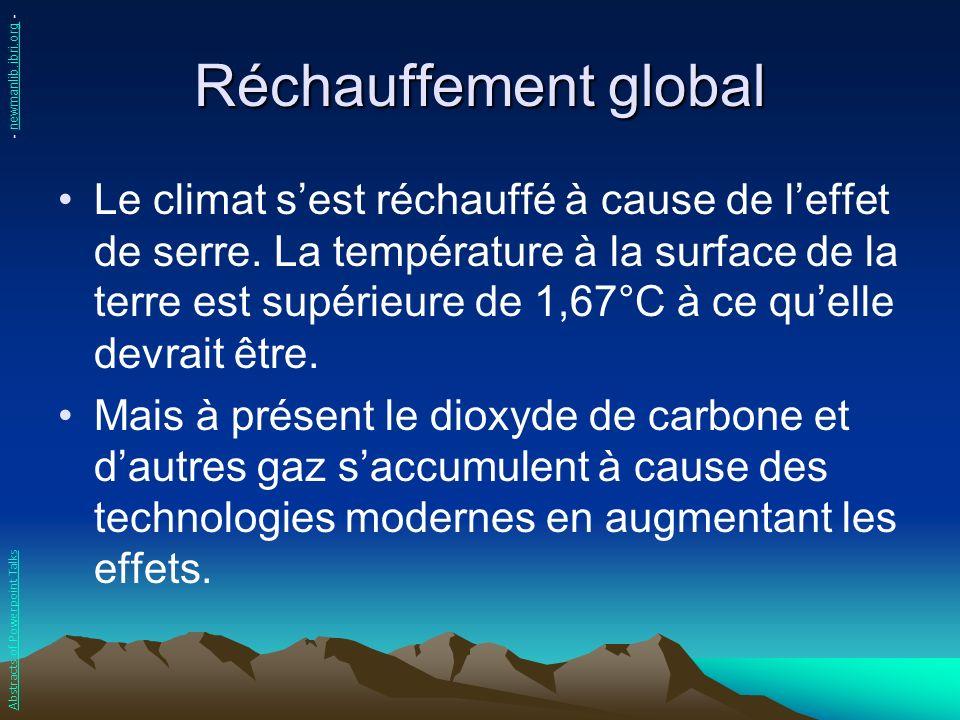 Réchauffement global Le climat sest réchauffé à cause de leffet de serre. La température à la surface de la terre est supérieure de 1,67°C à ce quelle