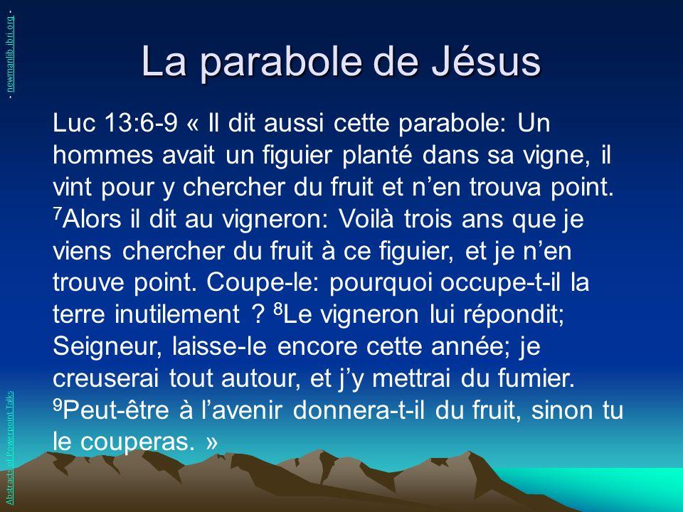 La parabole de Jésus Luc 13:6-9 « Il dit aussi cette parabole: Un hommes avait un figuier planté dans sa vigne, il vint pour y chercher du fruit et ne