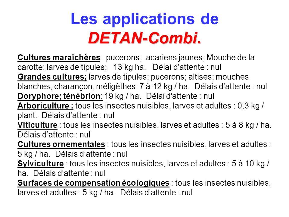 DETAN-Combi. Les applications de DETAN-Combi. Cultures maraîchères : pucerons; acariens jaunes; Mouche de la carotte; larves de tipules; 13 kg ha. Dél
