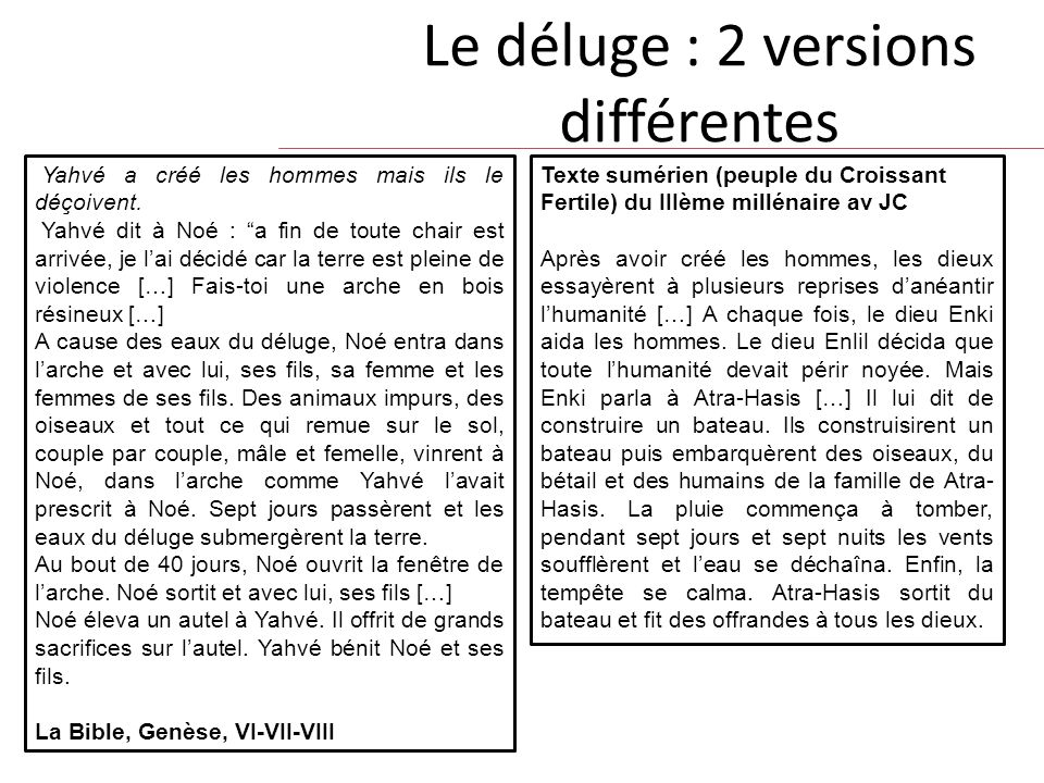 Le déluge : 2 versions différentes Yahvé a créé les hommes mais ils le déçoivent.
