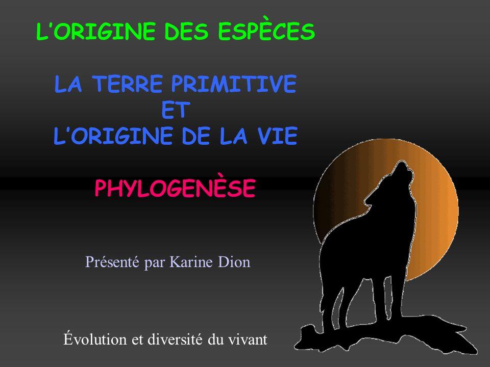 LORIGINE DES ESPÈCES LA TERRE PRIMITIVE ET LORIGINE DE LA VIE PHYLOGENÈSE Présenté par Karine Dion Évolution et diversité du vivant