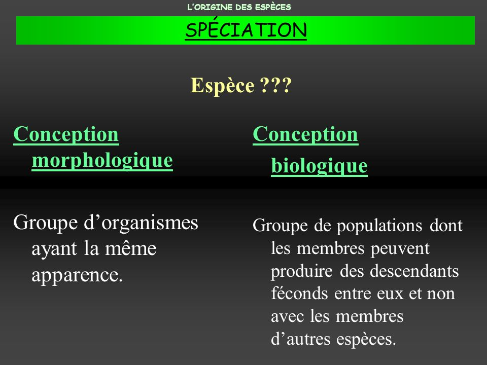 Conception morphologique Groupe dorganismes ayant la même apparence. Conception biologique Groupe de populations dont les membres peuvent produire des