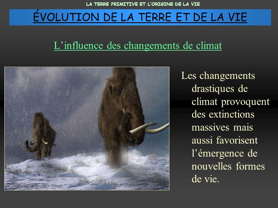 Linfluence des changements de climat Les changements drastiques de climat provoquent des extinctions massives mais aussi favorisent lémergence de nouv