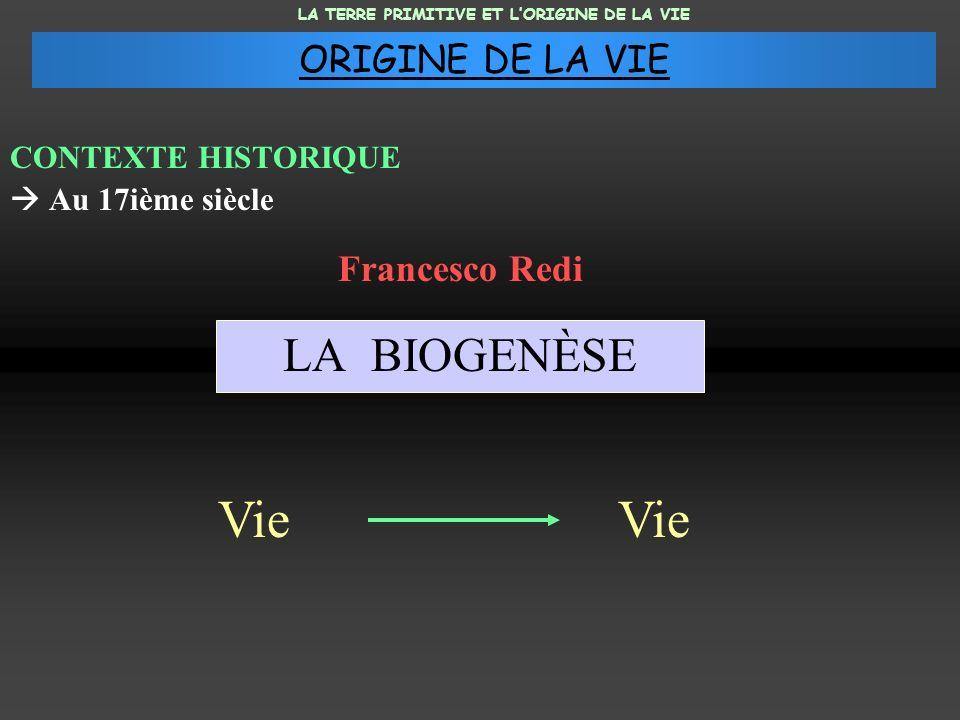 CONTEXTE HISTORIQUE Au 17ième siècle LA BIOGENÈSE Francesco Redi Vie LA TERRE PRIMITIVE ET LORIGINE DE LA VIE ORIGINE DE LA VIE