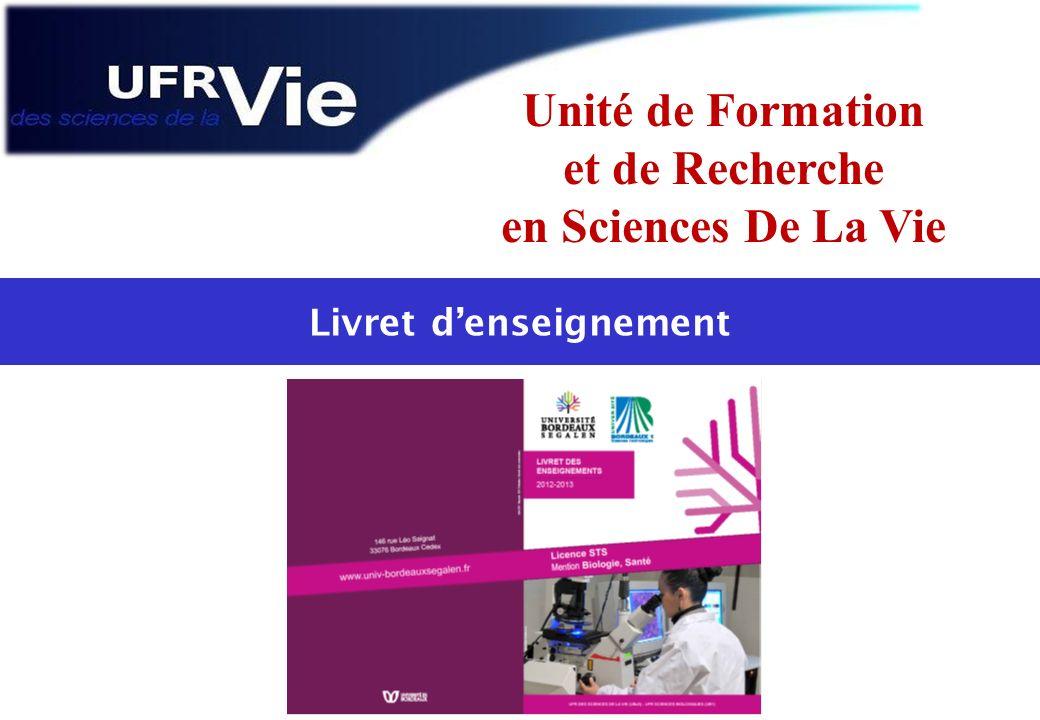 Unité de Formation et de Recherche en Sciences De La Vie Livret denseignement