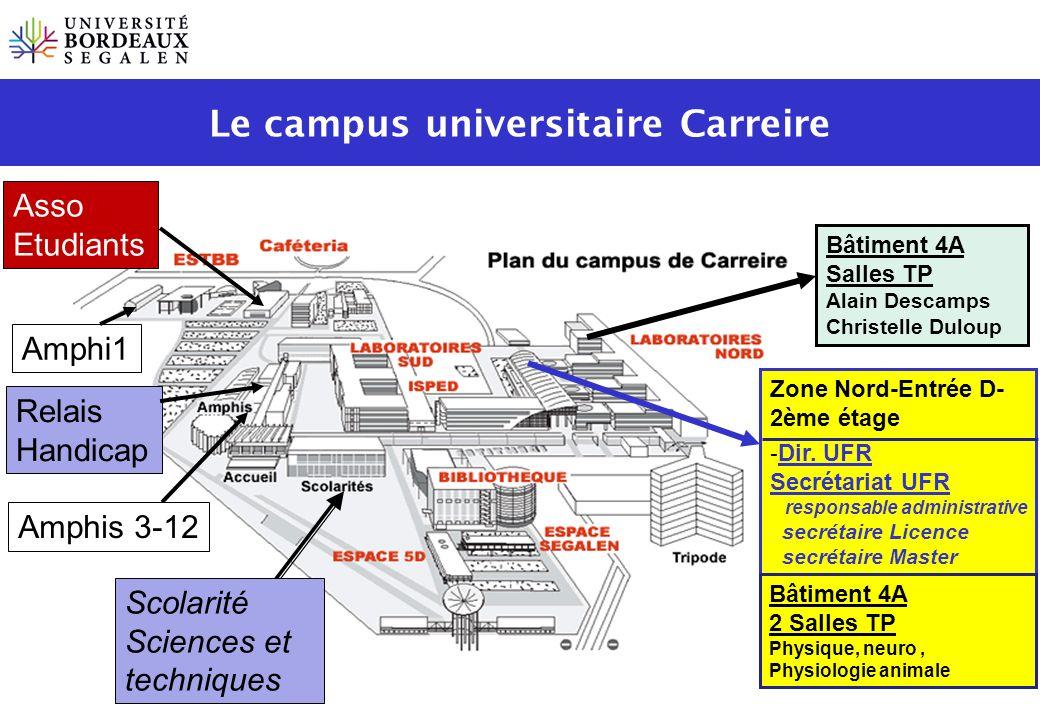 Bâtiment 4A Salles TP Alain Descamps Christelle Duloup Scolarité Sciences et techniques Amphis 3-12 Zone Nord-Entrée D- 2ème étage - Dir. UFR Secrétar