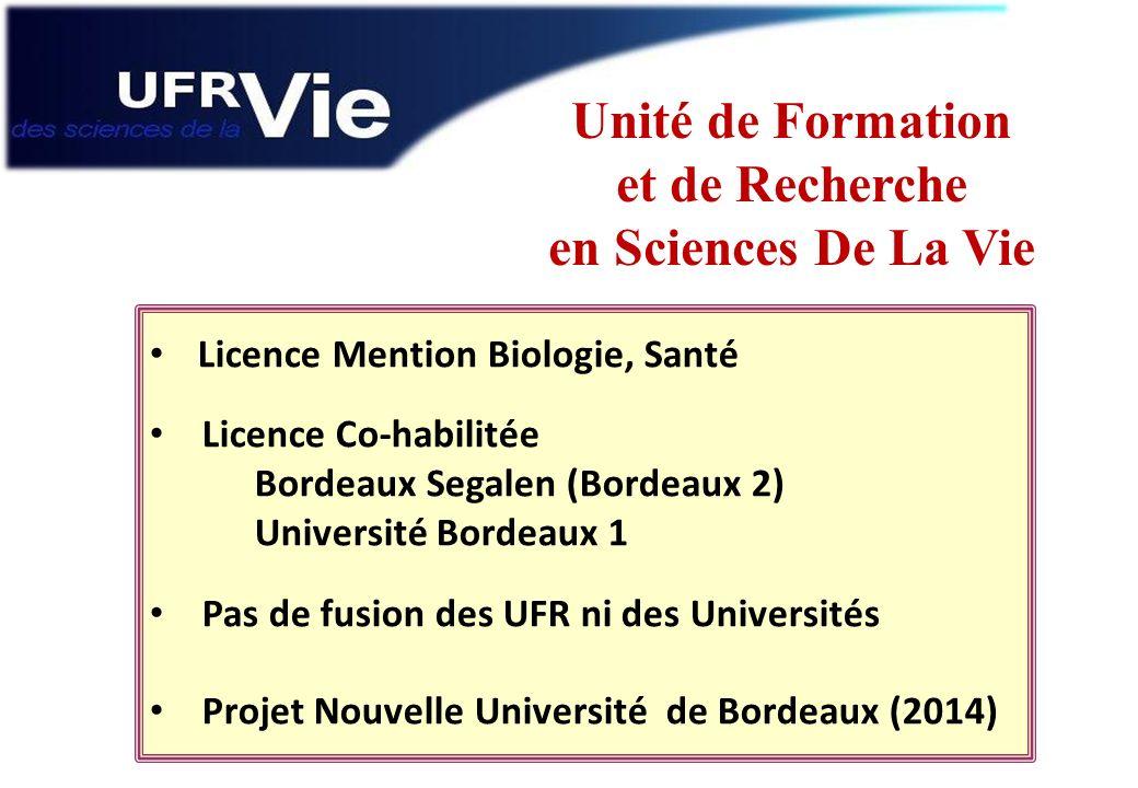 Licence Mention Biologie, Santé Licence Co-habilitée Bordeaux Segalen (Bordeaux 2) Université Bordeaux 1 Pas de fusion des UFR ni des Universités Proj