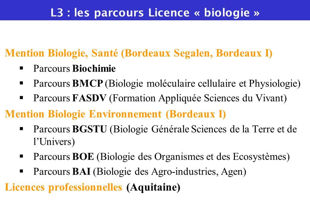 Mention Biologie, Santé (Bordeaux Segalen, Bordeaux I) Parcours Biochimie Parcours BMCP (Biologie moléculaire cellulaire et Physiologie) Parcours FASD