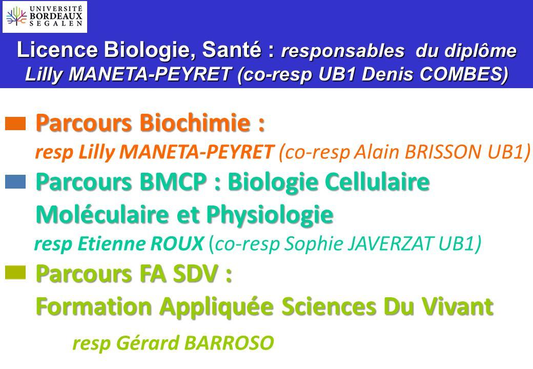 Licence Biologie, Santé : responsables du diplôme Lilly MANETA-PEYRET (co-resp UB1 Denis COMBES) Parcours Biochimie : Parcours Biochimie : Parcours BM