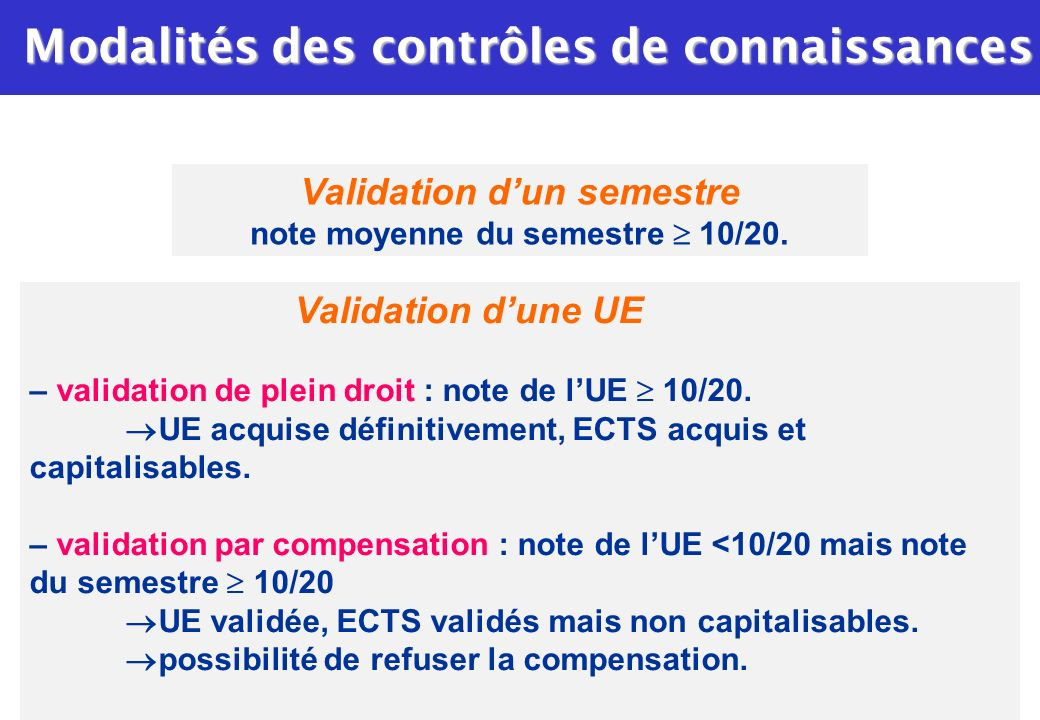 Validation dune UE – validation de plein droit : note de lUE 10/20. UE acquise définitivement, ECTS acquis et capitalisables. – validation par compens