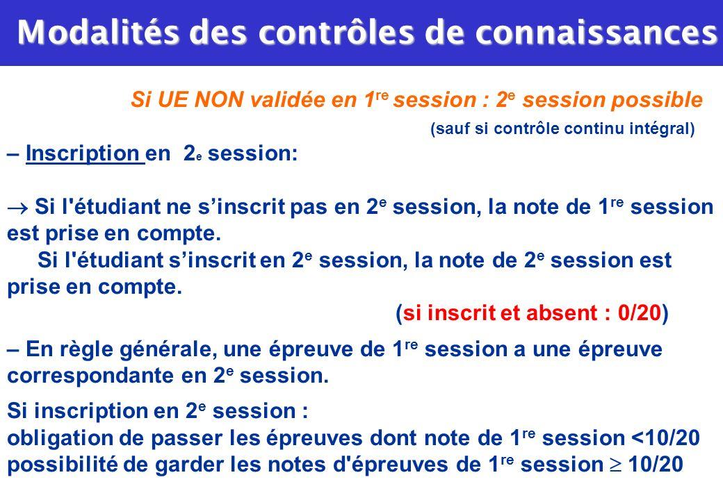 Si UE NON validée en 1 re session : 2 e session possible (sauf si contrôle continu intégral) – Inscription en 2 e session: Si l'étudiant ne sinscrit p