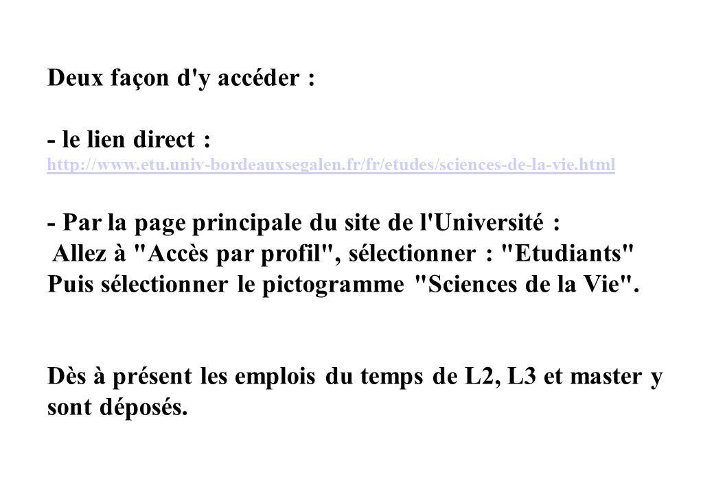 Deux façon d'y accéder : - le lien direct : http://www.etu.univ-bordeauxsegalen.fr/fr/etudes/sciences-de-la-vie.html - Par la page principale du site