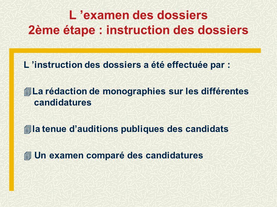 L examen des dossiers 2ème étape : instruction des dossiers L instruction des dossiers a été effectuée par : La rédaction de monographies sur les diff