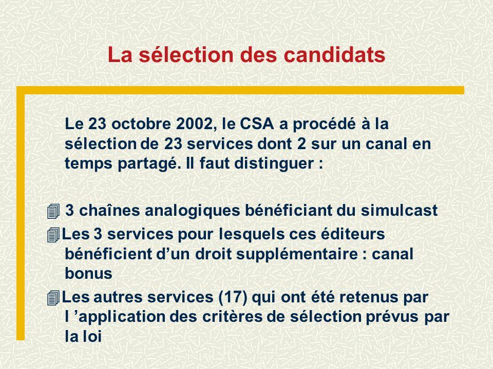 La sélection des candidats Le 23 octobre 2002, le CSA a procédé à la sélection de 23 services dont 2 sur un canal en temps partagé. Il faut distinguer