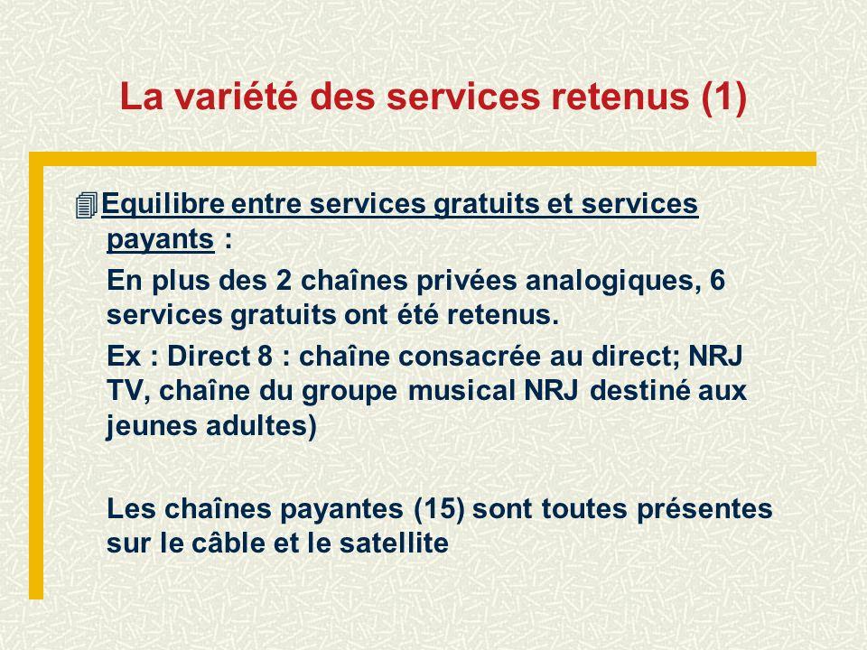 La variété des services retenus (1) Equilibre entre services gratuits et services payants : En plus des 2 chaînes privées analogiques, 6 services grat