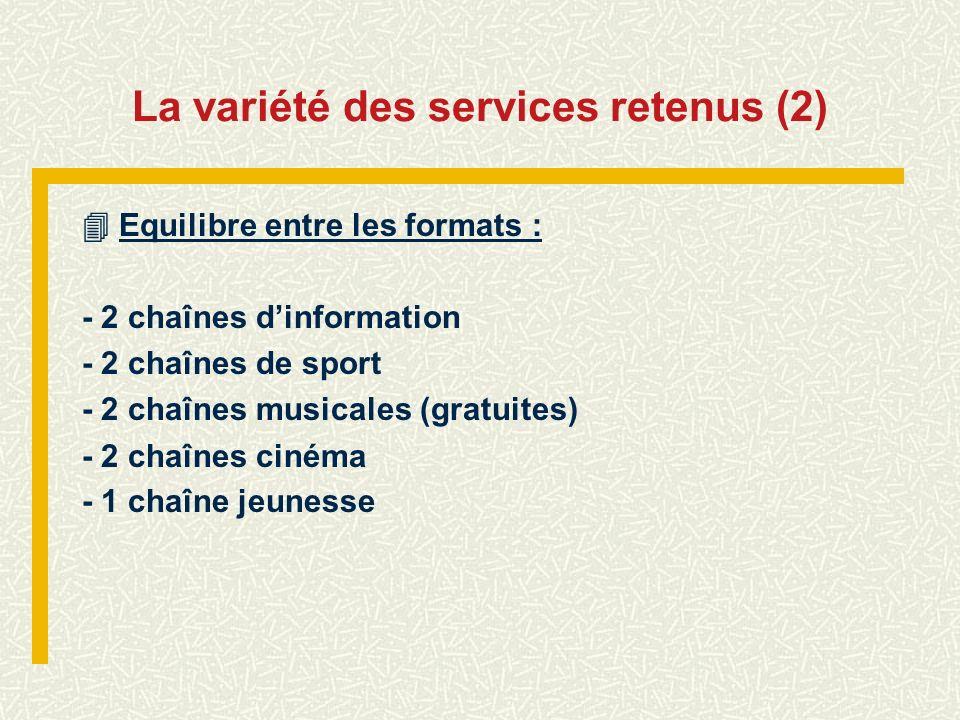 La variété des services retenus (2) Equilibre entre les formats : - 2 chaînes dinformation - 2 chaînes de sport - 2 chaînes musicales (gratuites) - 2