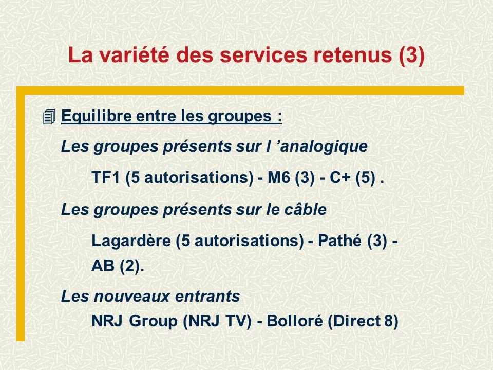 La variété des services retenus (3) Equilibre entre les groupes : Les groupes présents sur l analogique TF1 (5 autorisations) - M6 (3) - C+ (5). Les g