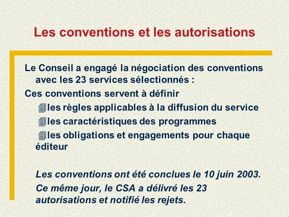 Les conventions et les autorisations Le Conseil a engagé la négociation des conventions avec les 23 services sélectionnés : Ces conventions servent à